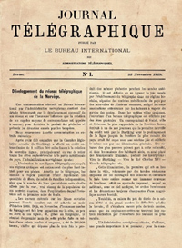 First issue of the Journal télégraphique, 25 November 1869</p>